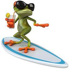 Aufkleber Surfer Frosch Cool Frog Golfer Sticker Hang Loose XL 30cm  Wohnmobil
