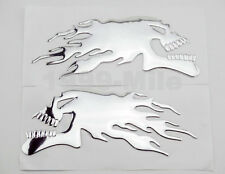 Chrome 3D Skull Flame Decal Sticker For Harley Fairing Fuel Gas Tank Custom DIY