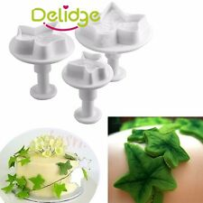 3pcs Ivy Leaf Cake Cookie Sugarcraft Decorating Icing Plunger Cutters Mold Tools