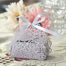 24pcs Lilac Wedding Gift Boxes With Ribbon & Rose Sweet Boxes Favour Box Bags