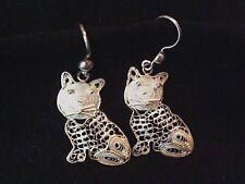 Sterling silver filigree cat drop dangle earrings 925 silver wirework 3.7g