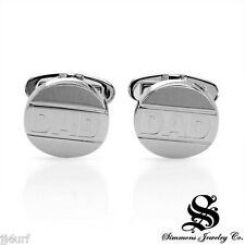 "SHR/SIMMONS Jewelry ""DAD"" Cuff Links Made in Solid  Stainless Steel, 16mm"