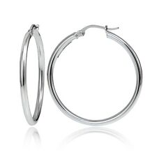 Sterling Silver 2mm High Polished Round Hoop Earrings, 35mm