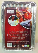 6 DISPOSABLE BBQ ALUMINIUM FOIL TRAYS. 34cm x 24cm. ROASTING FOOD BARBECUE PARTY