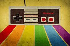 A4 Poster-Retrò NES GIOCO controllo PAD JOYSTICK (NINTENDO PICTURE STAMPA ART)