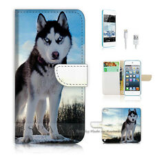 iPod Touch 5 iTouch 5 Flip Wallet Case Cover! S8324 Husky Dog