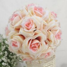 Artificial Silk Rose Kissing Flower Ball Pomander Wedding Party Bouquet Decor ST