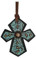 Showman TEAL Filigree Print Leather Cross Saddle Tie On w/ Copper Conchos! NEW!!