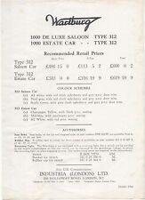 Original UK  Price  List  Wartburg 312 Saloon and Estate