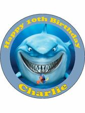 Personalised shark edible icing birthday cake topper round