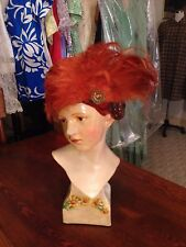 Antique Vtg. Jeweled 1920's Roaring 20's Flapper Feather Hat