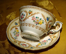 CROWN STAFFORDSHIRE FLORAL TEA CUP & SAUCER F15744