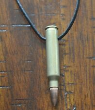 Brass 0.22 Bullet Pendant Charm Black 2mm Necklace