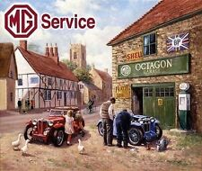 MG Service Car Garage in a Rural Village Vintage Mechanic, Small Metal/Tin Sign