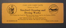 Old Vintage c.1930's STANFORD CLEANING - Business Card / BLOTTER Palo Alto CA.