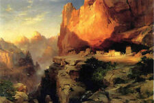 Oil painting Thomas Moran - Cliff Dwellers stunning mountains landscape canvas