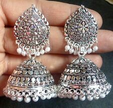 Antique Silver Plated 4 cm Long Pearl Studded Indian Wedding Jhumka Earrings