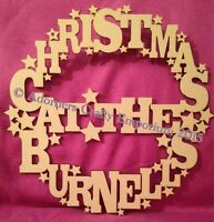 Christmas At The ... Name Wreath Sign Hanging Decoration 30cm Mdf Wood Wooden