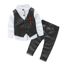 3PCS Kid Baby Boys Suit Clothes T-Shirt Tops+Waistcoat+Pants Clothes Outfits 130