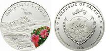 2011 Palau Large  Proof Color Silver $5 Flowers/Mount PUNCAK TRIKORA