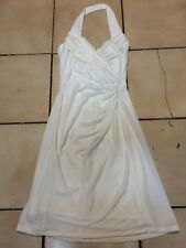 TADASHI HALTER DRESS WHITE GATHERED STRETCH LINED COCKTAIL EVENING SIZE S
