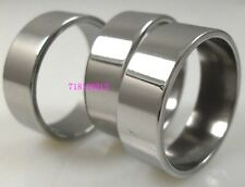 12pcs Silver Men's Simple Plain Stainless Steel Rings Wholesale Jewelry Job Lots
