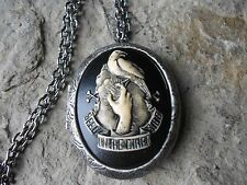SEE U ON THE OTHER SIDE, MOURNING, RAVEN, DEATH CAMEO ANTIQUED SILVER LOCKET