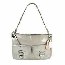 COACH 18996 Poppy Hippie Shimmer Metallic Silver Leather Shoulder Bag