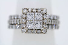 14k White Gold 2.0ct Princess & Round Diamond 3 Ring Wedding Set (H, SI1)