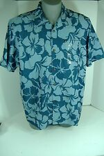 New Mens XL Quiksilver Hoale Blue Rayon Dress Button Shirt $50