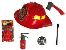 Kids Firefighters Outfit Fireman Helmet Hat Children Boys Play Set Fancy Dress