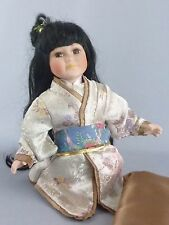 "Japanese Kneeling Doll / Kimono Geisha Asian / Porcelain Bisque / 10"" tall"