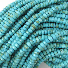 """4mm faceted blue howlite turquoise rondelle beads 7.5"""" strand"""