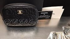 NWT CHANEL 2016 BLACK CAVIAR CAMELLIA Gold SLG O-Case Zip Pouch Wallet Clutch