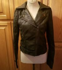 Ashley Women Zip Up Moto Biker Jacket PU Faux Leather Black S