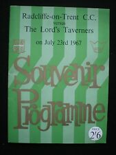 Radcliffe on Trent C.C. v The Lord's Taverners  Souvenir Brochure  - July 1967