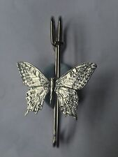 """C6   Swallowtail Butterfly  kilt pin Scarf or Brooch pin pewter emblem 3"""" 7.5 cm"""