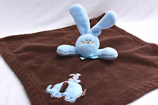 Bunny Elephant Lovey Blue Brown Rabbit Blankets & Beyond Plush Security Blanket
