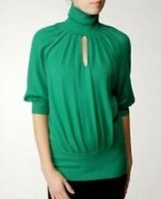 $345 CATHERINE MALANDRINO KEYHOLE WOOL CASHMERE GREEN TURTLENECK SWEATER TOP L