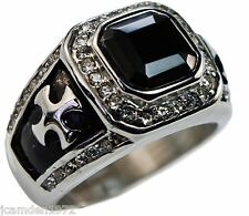 Knights Templar Cross 4 carat Black Onyx mens ring Platinum overlay cz size 11