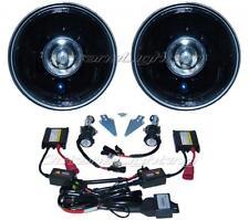 """7"""" Black Projector Crystal Clear Glass Headlight Lamp HID 6000K Light Bulb Pair"""