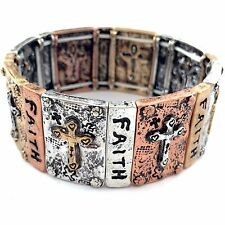 VINTAGE CHRISTIAN FAITH CROSS STRETCHABLE BRACELET SILVER AND COPPER FOR WOMEN