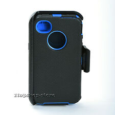 Defender Hard Rugged Case Cover w/Holster Belt Clip for iPhone 4 4s (Black/Navy)