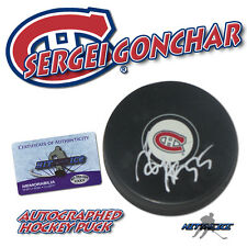 SERGEI GONCHAR Signed MONTREAL CANADIENS Puck w/COA HOLOGRAM