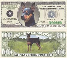 Two Miniature Pinscher Dog Novelty Currency Bills # 323