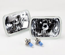 "7x6"" Halogen Semi Sealed H4 Clear Glass Headlight Conversion w/ Bulbs Pontiac"