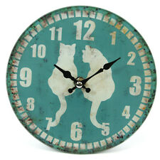FROSTED GLASS SHABBY CHIC RUSTIC CAT COUPLE PICTURE WALL CLOCK 16 CM HIGH