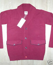 One True Saxon Men's Knitted Maroon Smoking Jacket Cardigan L Large New BNWT
