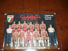 MANIFESTO POSTER PALLACANESTRO SIMAC BASKET CAMPIONE D'ITALIA 1984/85 FORMAZIONE