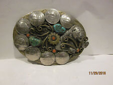 Vintage Westen Belt Buckle with Canadian Nickle Coral Turquoise Bear Nickles